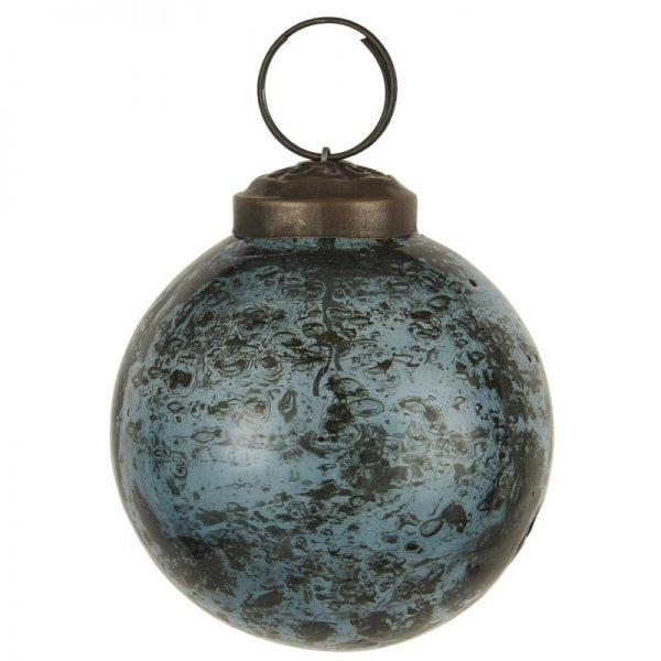 Julekugle rund glas petrol - Ib Laursen Dia: 5,8 cm
