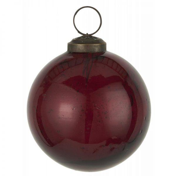 Julekugle rund glas vinrød - Ib Laursen Dia: 8 cm