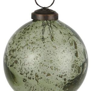 0 - 2021 - Glaskugle i rustik glas - mos grøn - H: 8,3 Ø: 8 cm