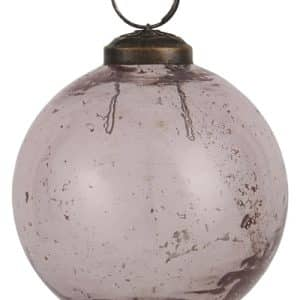 0 - 2021 - Glaskugle i rustik glas - rosa - H: 8,3 Ø: 8 cm