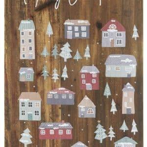 0 - 2021 - Træskilt - Stort og flot - Merry Christmas med julelandsby fra Ib Laursen