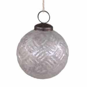 2. SORTERING - Julekugle antik hvid mønster - Ø 7 cm