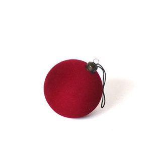 Julekugle Velour - Rød - Ø 8 cm
