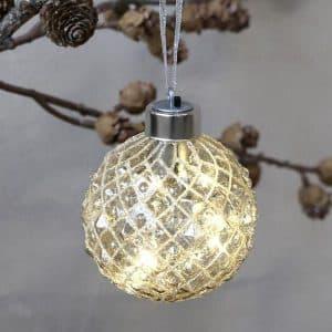 Julekugle med LED - Ø 8 cm - Harlequin