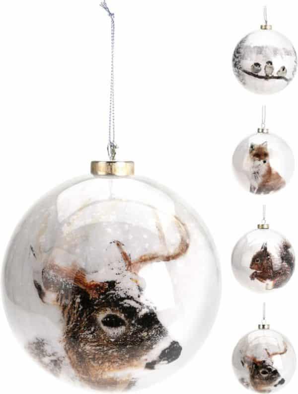 Julekugle skovens dyr, 8 cm
