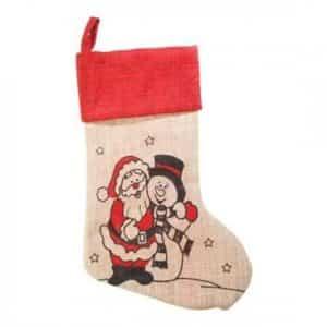 Julesok med navn. julemand og snemand. Rød og sort.