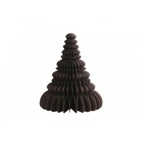 Juletræ i papir - Brun - H 10 cm x Ø 8,5 cm