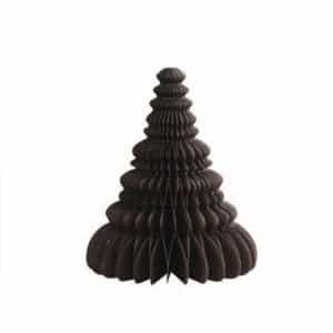 Juletræ i papir - Brun - H 15 cm x Ø 12,5 cm